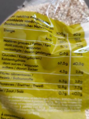 Quinoa Real Bio 500g - Voedigswaarden