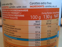 Carottes extra fines - Nutrition facts - fr