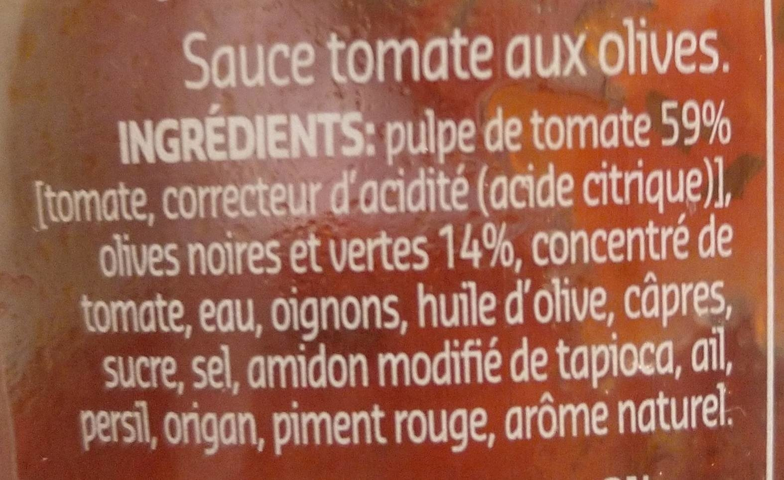 Sauce tomate aux olives - Ingrédients - fr
