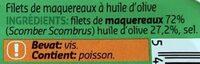 Filets de maquereaux à l'huile d'olive - Ingredients - fr