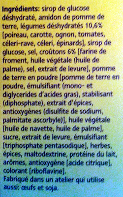 Légumes et croûtons - Ingrédients