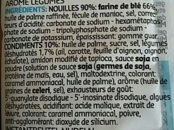 Instant Noodles vegetable flavor - Ingrédients - fr