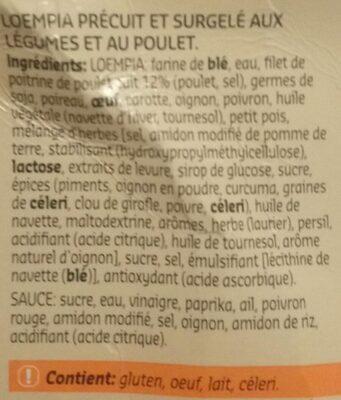 Loempia au poulet et légumes - Ingrédients - fr