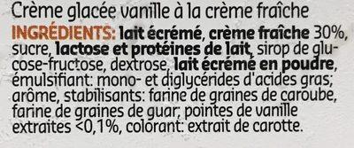 Crème glacée vanille à la crème fraîche - Ingrediënten