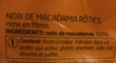 Macadamia - Ingredienti - fr