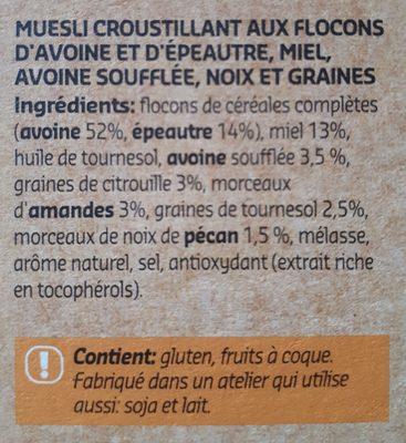 Crunchy Muesli épeautre & avoine soufflée - Ingredients