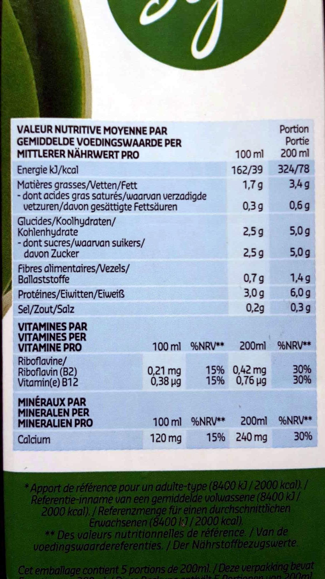 Soja Nature - Voedingswaarden - fr