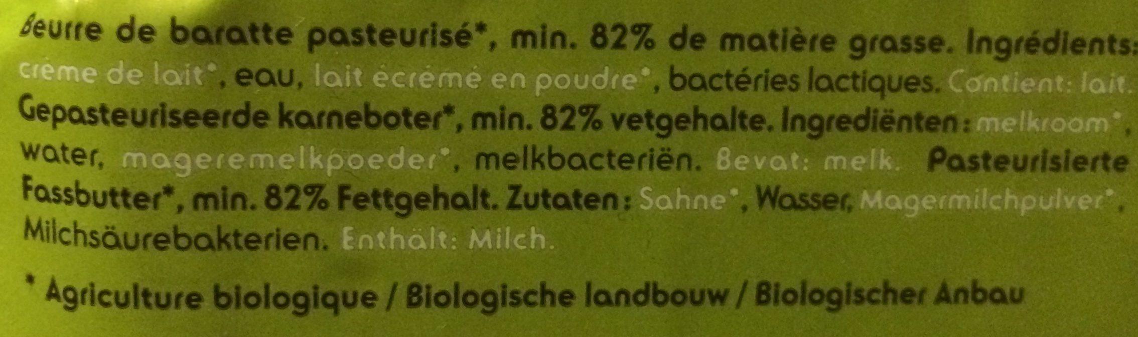 Beurre de Baratte - Ingrédients