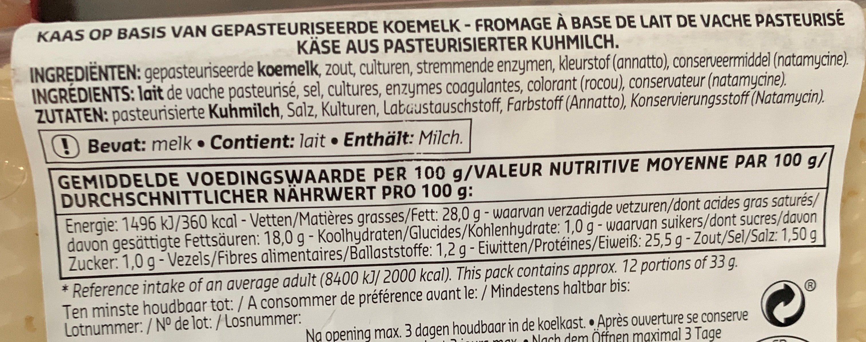 Raclette Nature - Ingrediënten