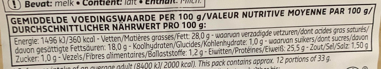 Raclette Nature - Voedingswaarden