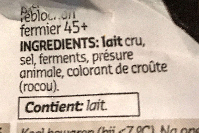 Petit Reblochon fermier - Ingrediënten - fr