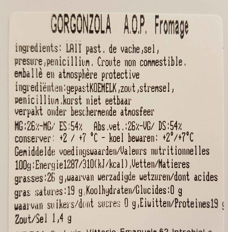 Gorgonzola AOP - Voedingswaarden