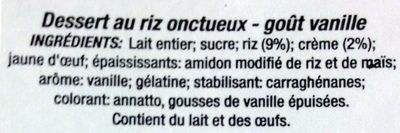 Riz au lait à la vanille - Ingrediënten - fr