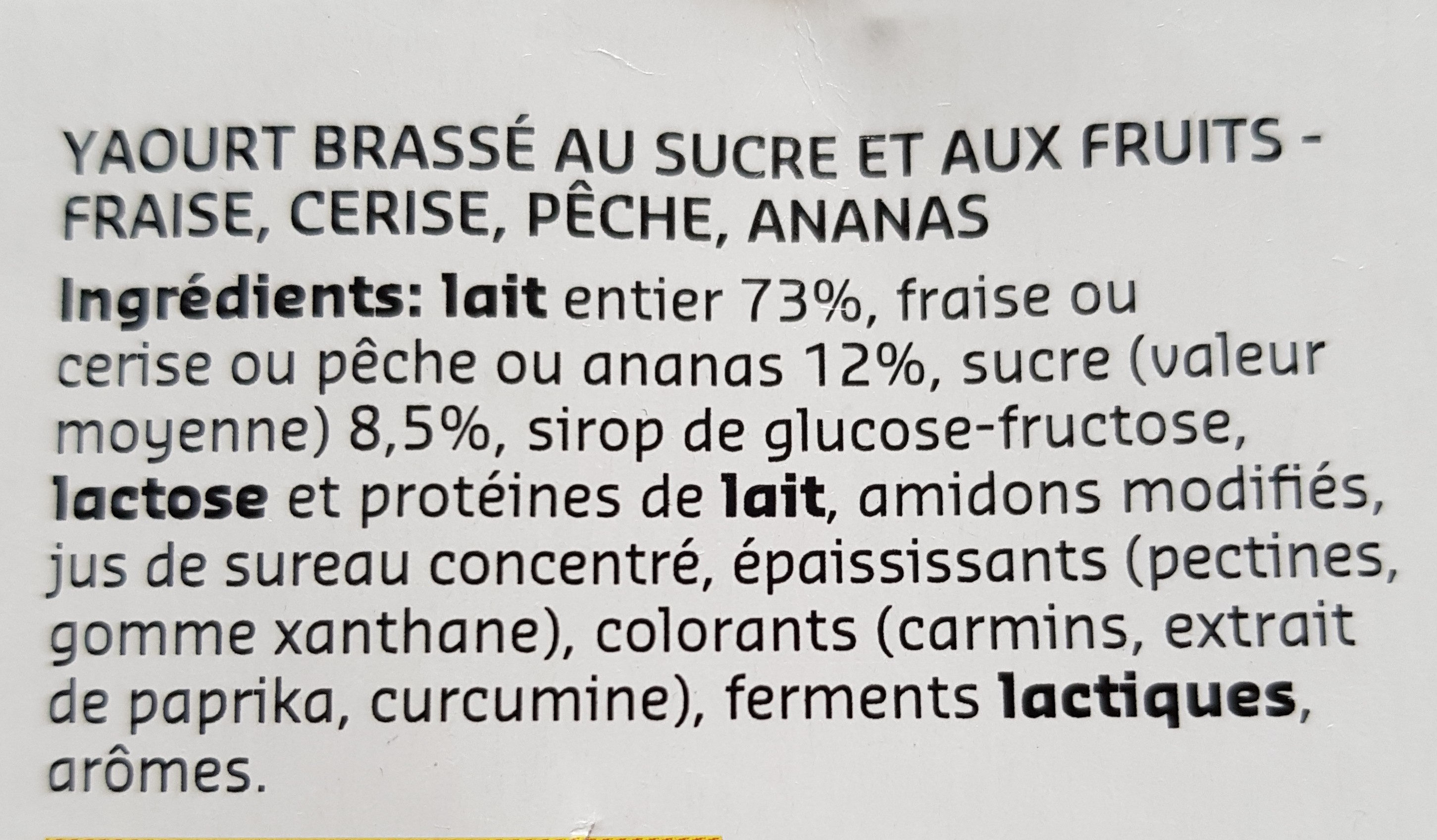 Yaourts Aux Fruits - Ingrediënten