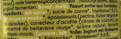 Yoghurt framboises - Ingrediënten
