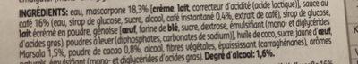 Tiramisu - Ingrédients - fr
