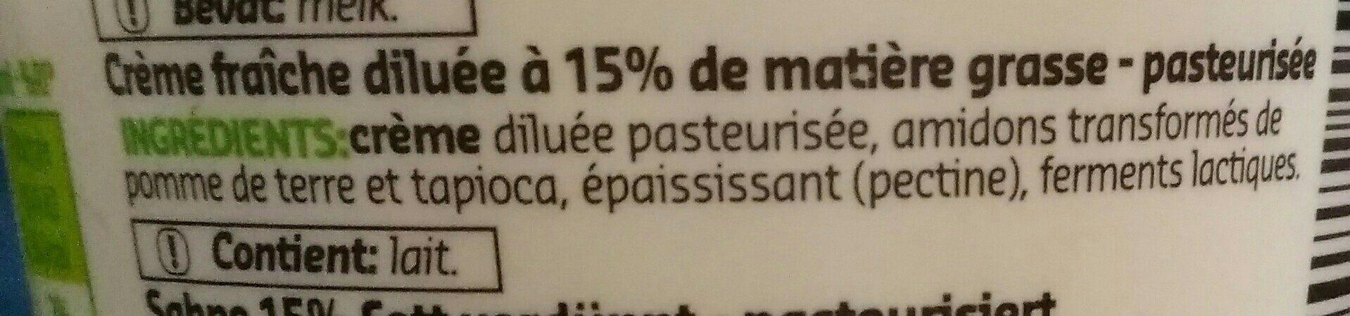 Crème Épaisse légère - Ingrédients - fr