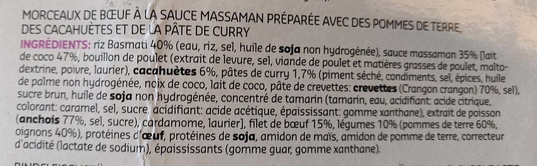 Massa man beef curry with rice - Ingrediënten