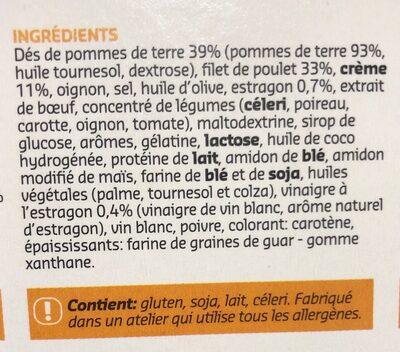 Filet de poulet, sauce estragon - Ingrediënten - fr