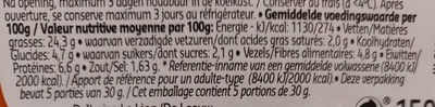 Préparé Du Chef Vegan - Voedingswaarden
