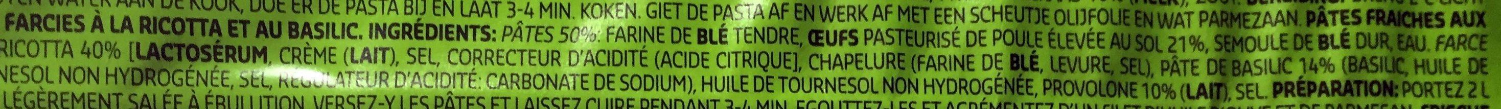 Tortelloni au basilic - Ingrédients - fr