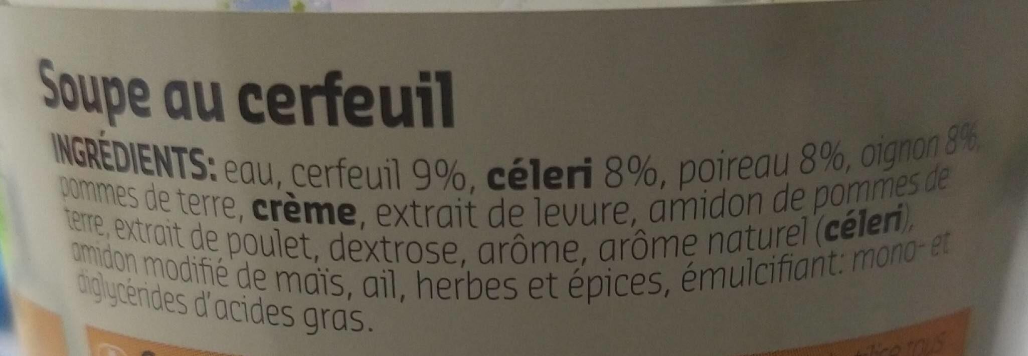 SOUPE AU CERFEUIL - Ingrediënten