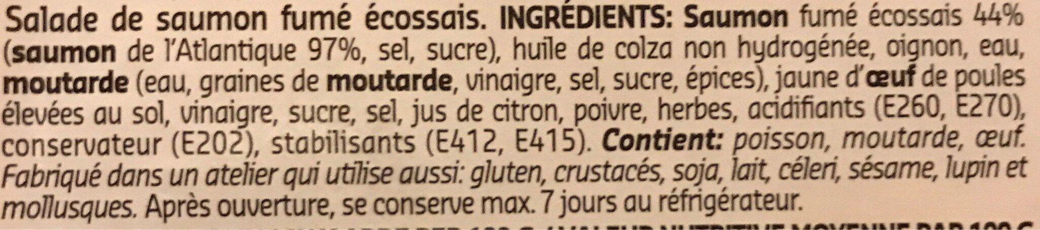 Salade de saumon fumé écossais - Ingrédients