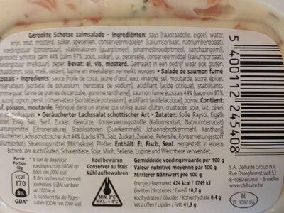 Salade de saumon fumé écossais - Informations nutritionnelles