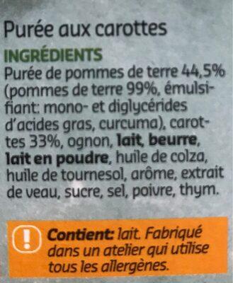 Purée aux carottes - Ingredients