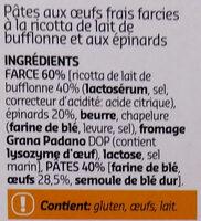 Cappellaccio à la ricotta de lait de bufflone et aux épinards - Ingrédients - fr