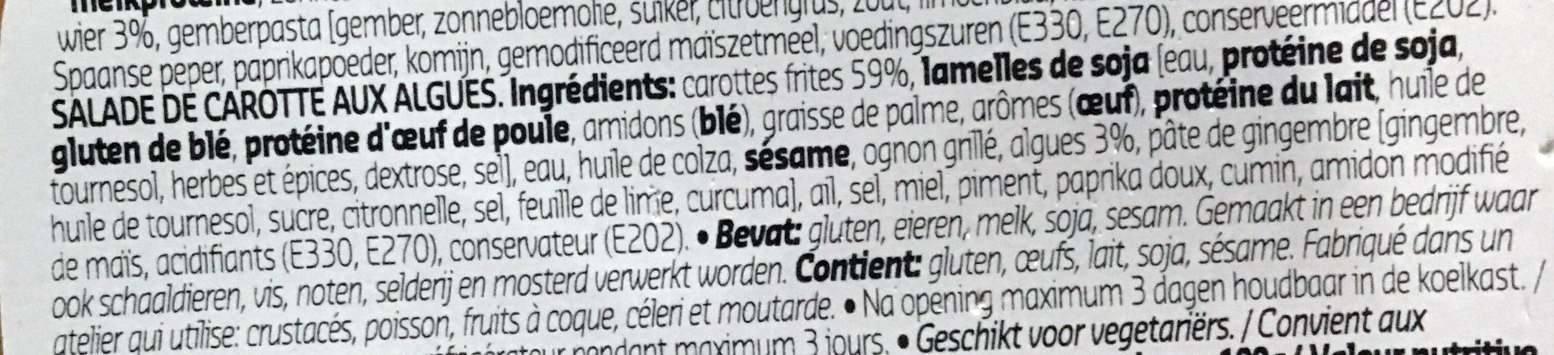 Salade de carottes aux algues - Ingrediënten - fr