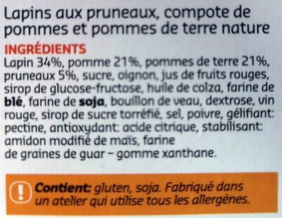 Lapin aux pruneaux - Ingrédients - fr