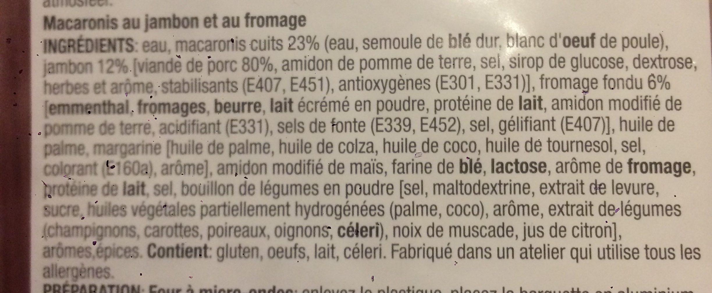 Macaroni Jambon Fromage - Ingrediënten - fr