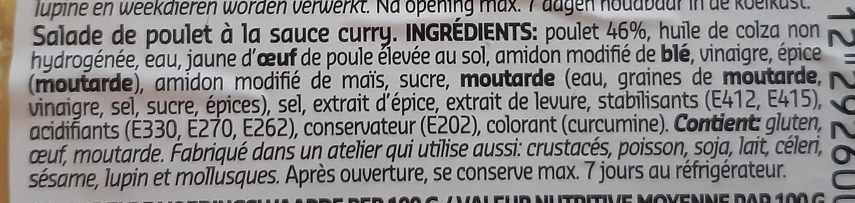 Salade De Poulet Curry - Ingrédients - fr