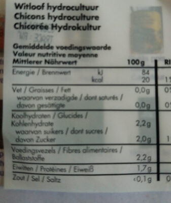 Chicons hydroculture - Nutrition facts - fr