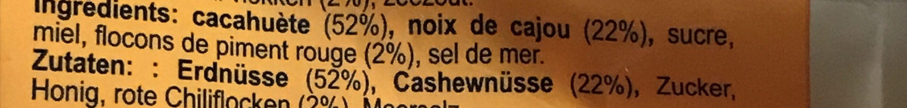 Noix de cajou et cacahuete au piment rouge - Ingrédients - fr