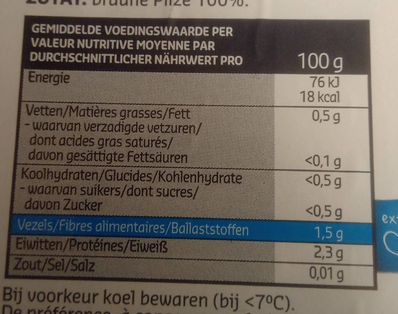 Champignons bruns coupés - Voedingswaarden - fr
