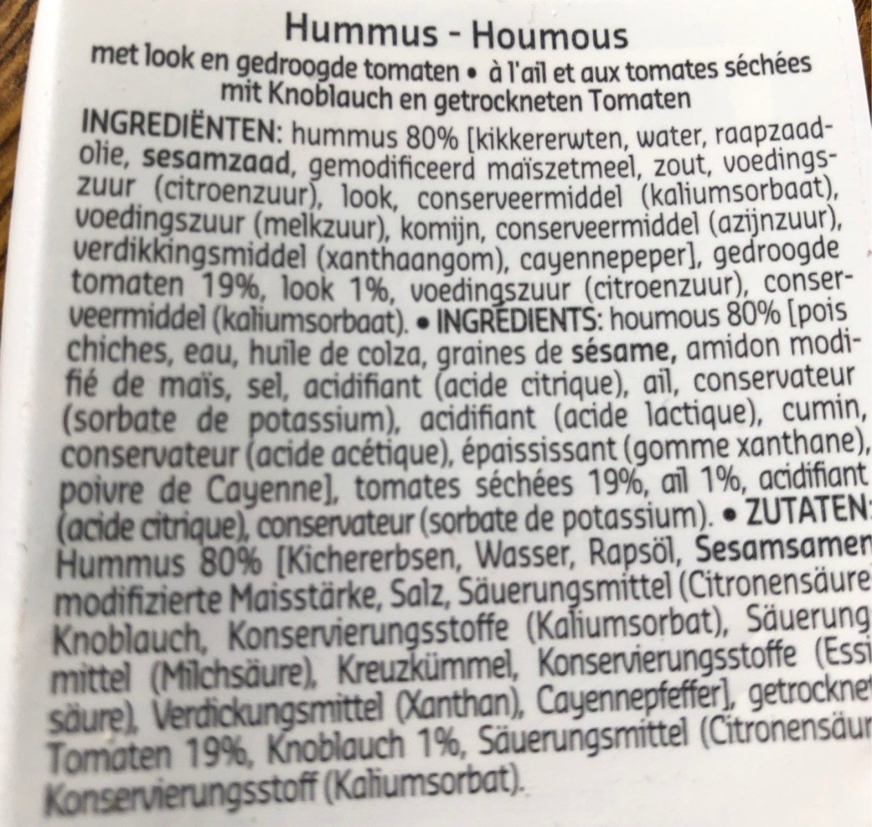 Hummus Ail Et Tomates Sechees - Informations nutritionnelles