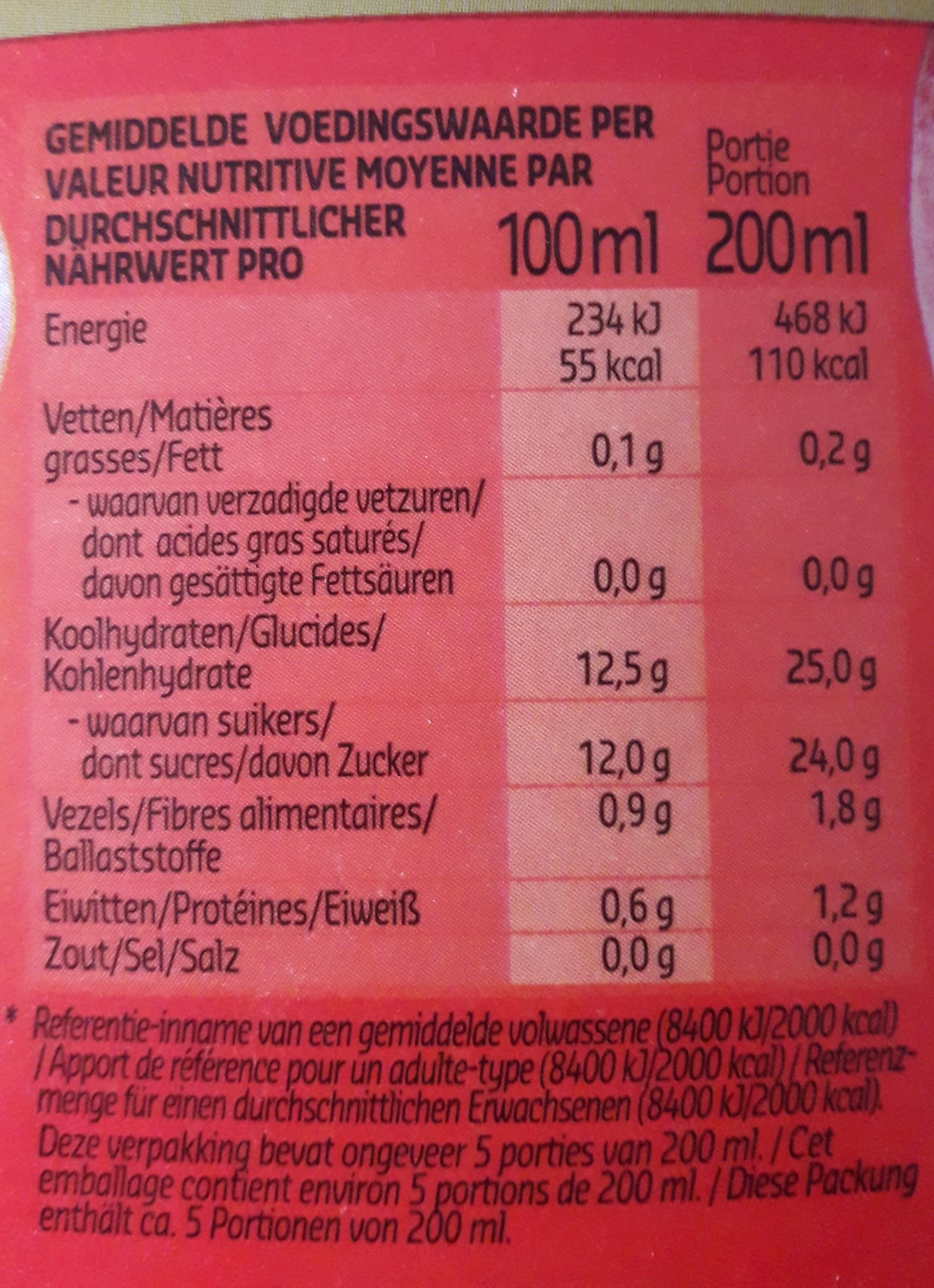 Super Fruit - Jus de fruit grenade - Informations nutritionnelles