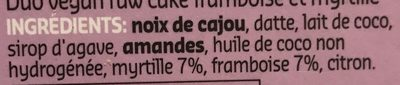 Raw Cake Framboise et Myrtille - Ingrediënten - fr
