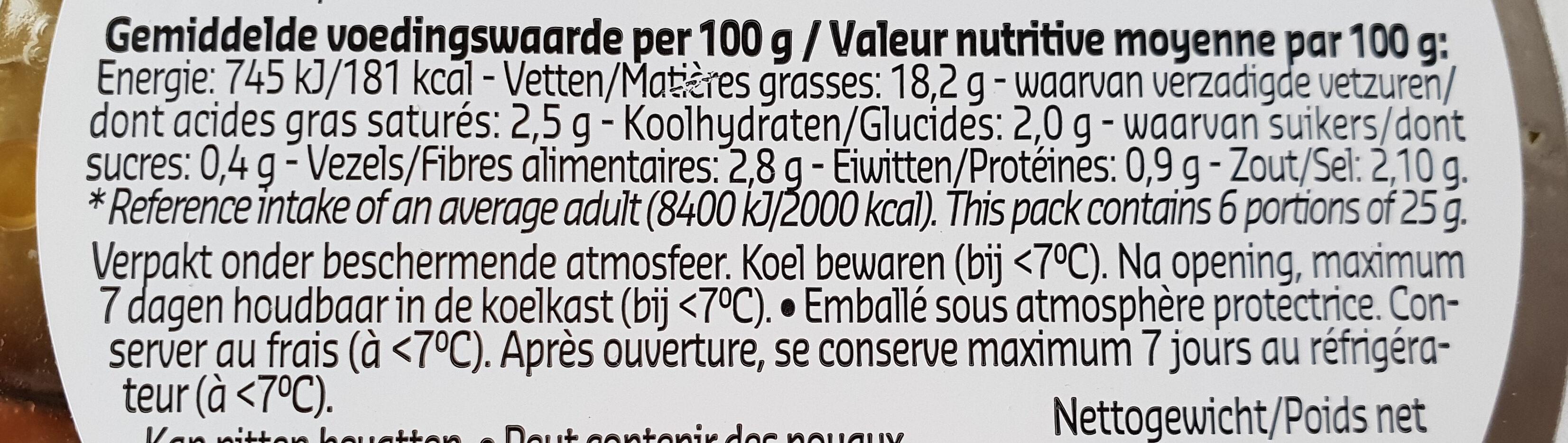 Olives ail - Voedingswaarden - fr