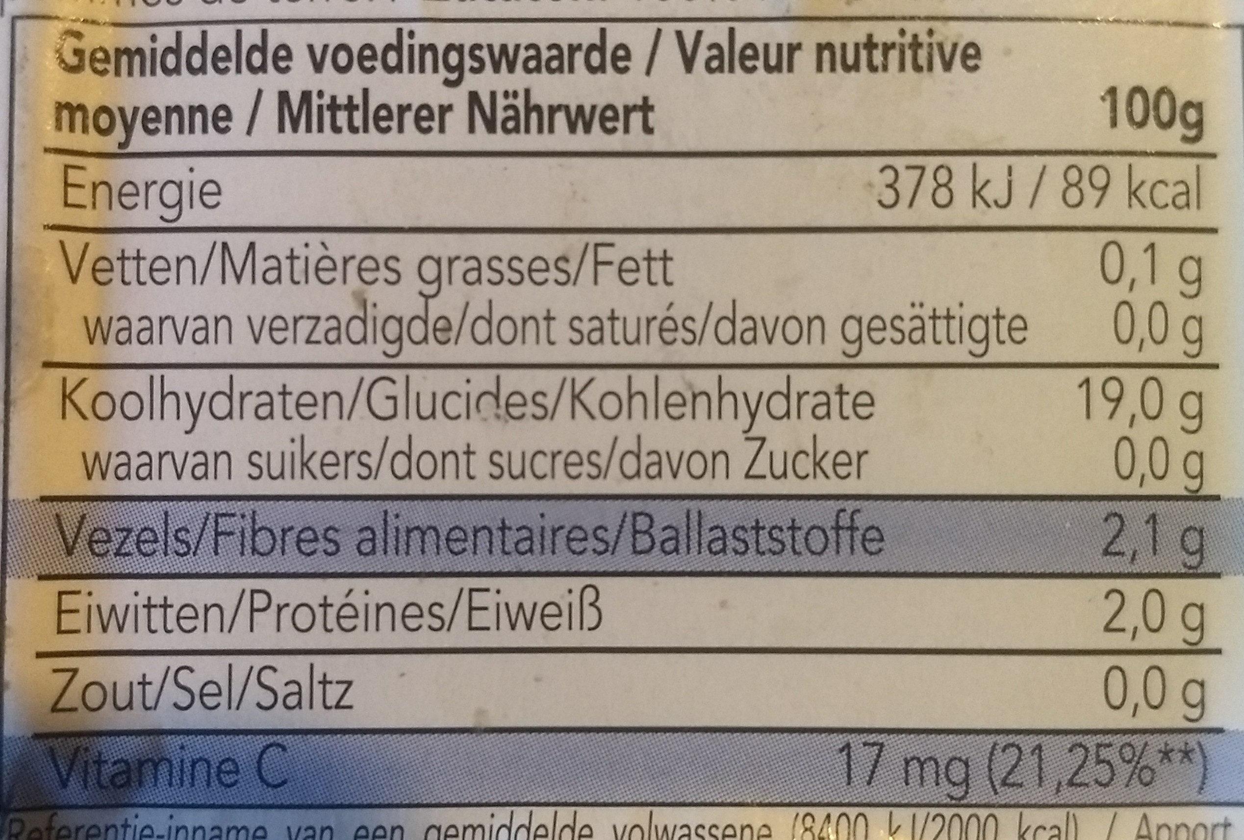 Pomme de terre en robe des champs - Nutrition facts - fr