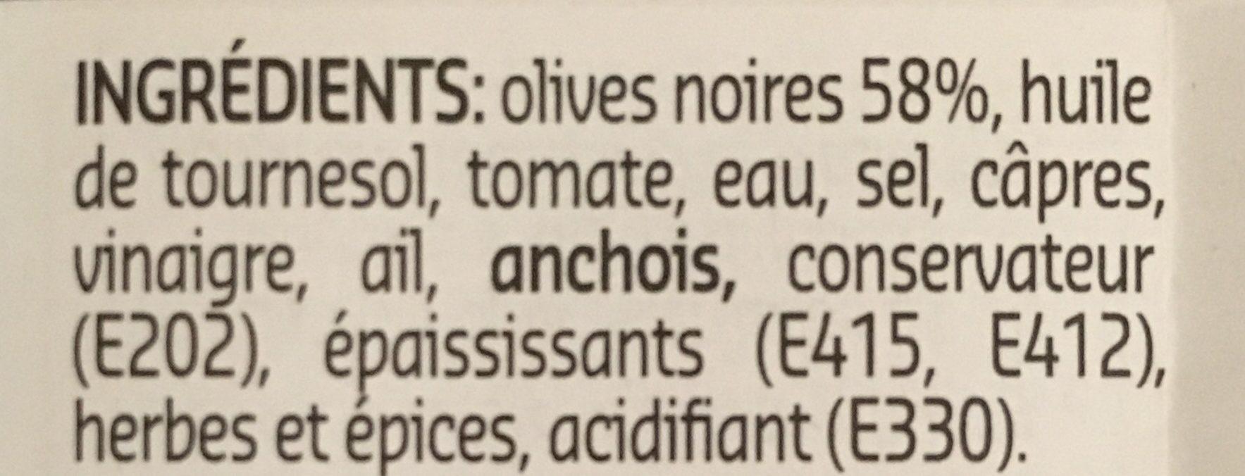Tapenade olives noires - Ingrédients - fr