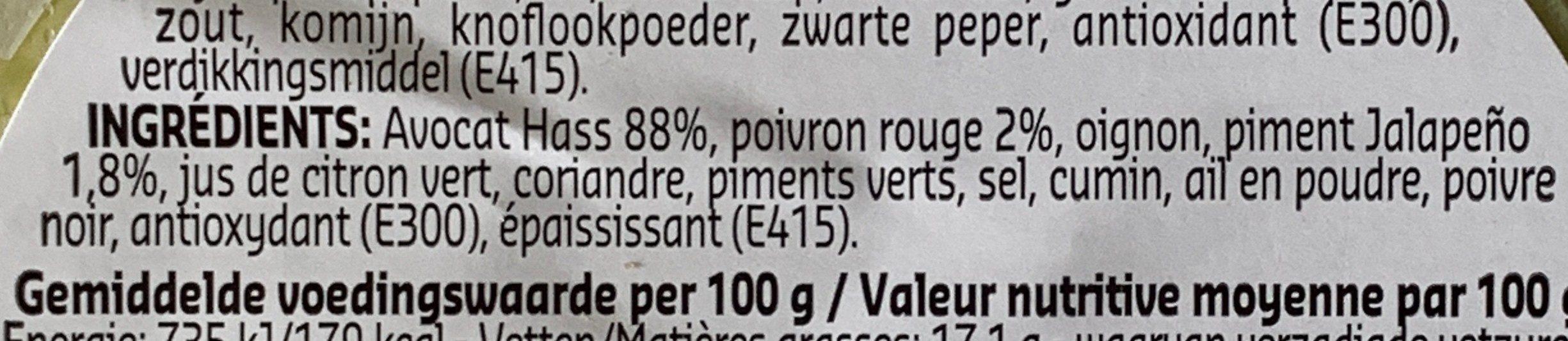 Guacamole épicé - Ingrediënten - fr