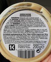 Houmous Zaatar - Voedingswaarden