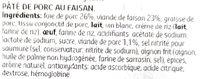 Pâté de Faisan - Ingrediënten