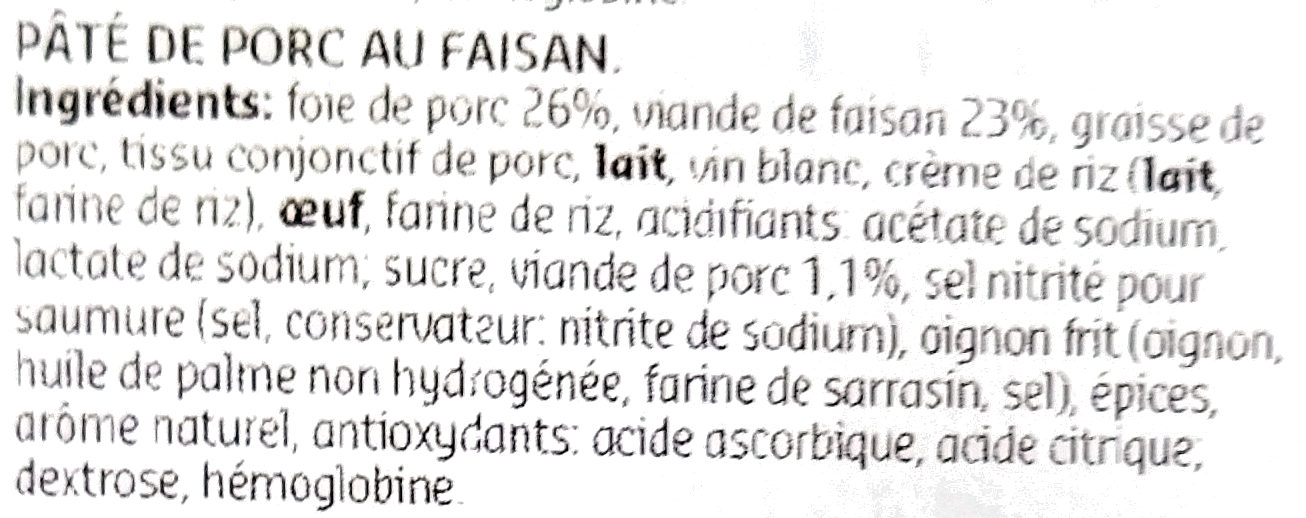 Pâté de Faisan - Ingrediënten - fr