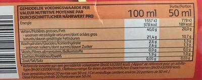 Creme riche et onctueuse - Informations nutritionnelles - fr