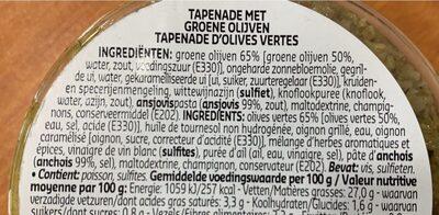 Tapenade Olives Vertes - Ingrediënten - fr