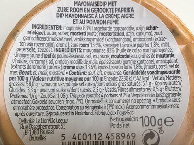 Dip poivrons fumes - Ingrediënten - fr